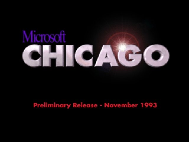 "El logo de ""Windows Chicago"", una versión previa a Windows 95"