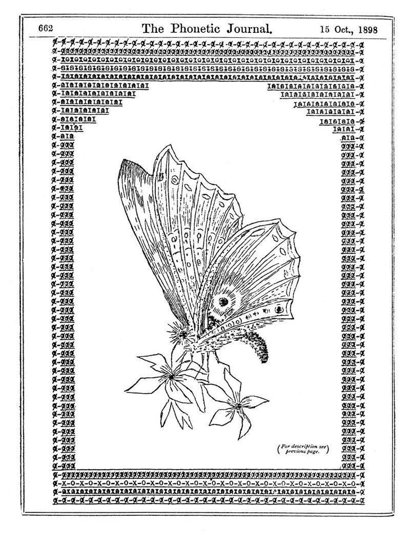 Mariposa, de 1898. Primer ejemplo registrado del uso de ASCII en ilustraciones.