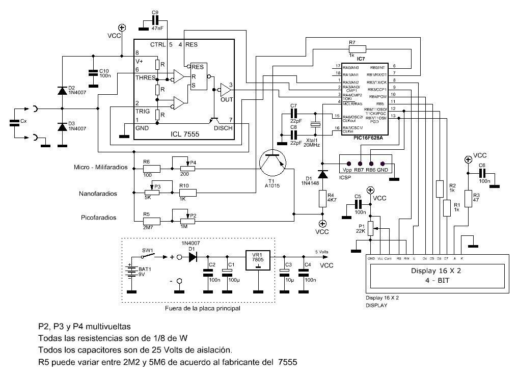 Circuito del capacímetro autorrango