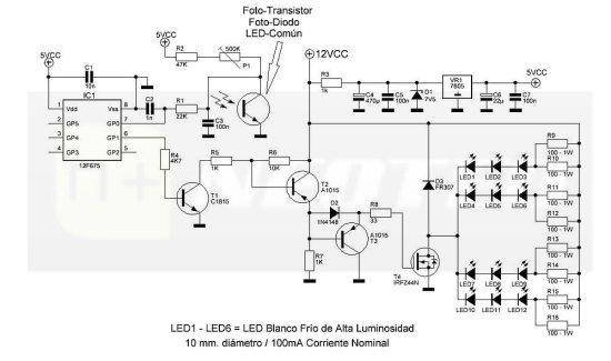 Circuito inicial, propuesto para el Interruptor Crepuscular Inteligente