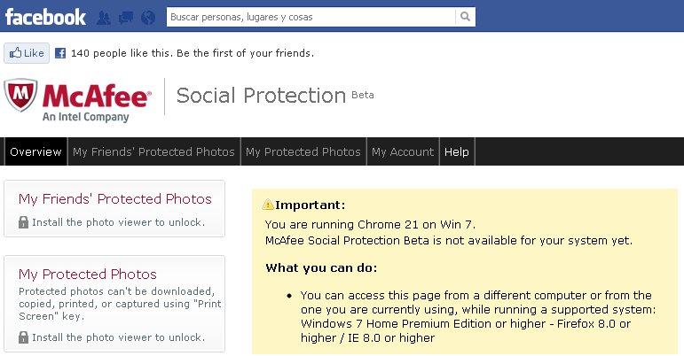 Protege tus fotos de Facebook con McAfee Social Protection