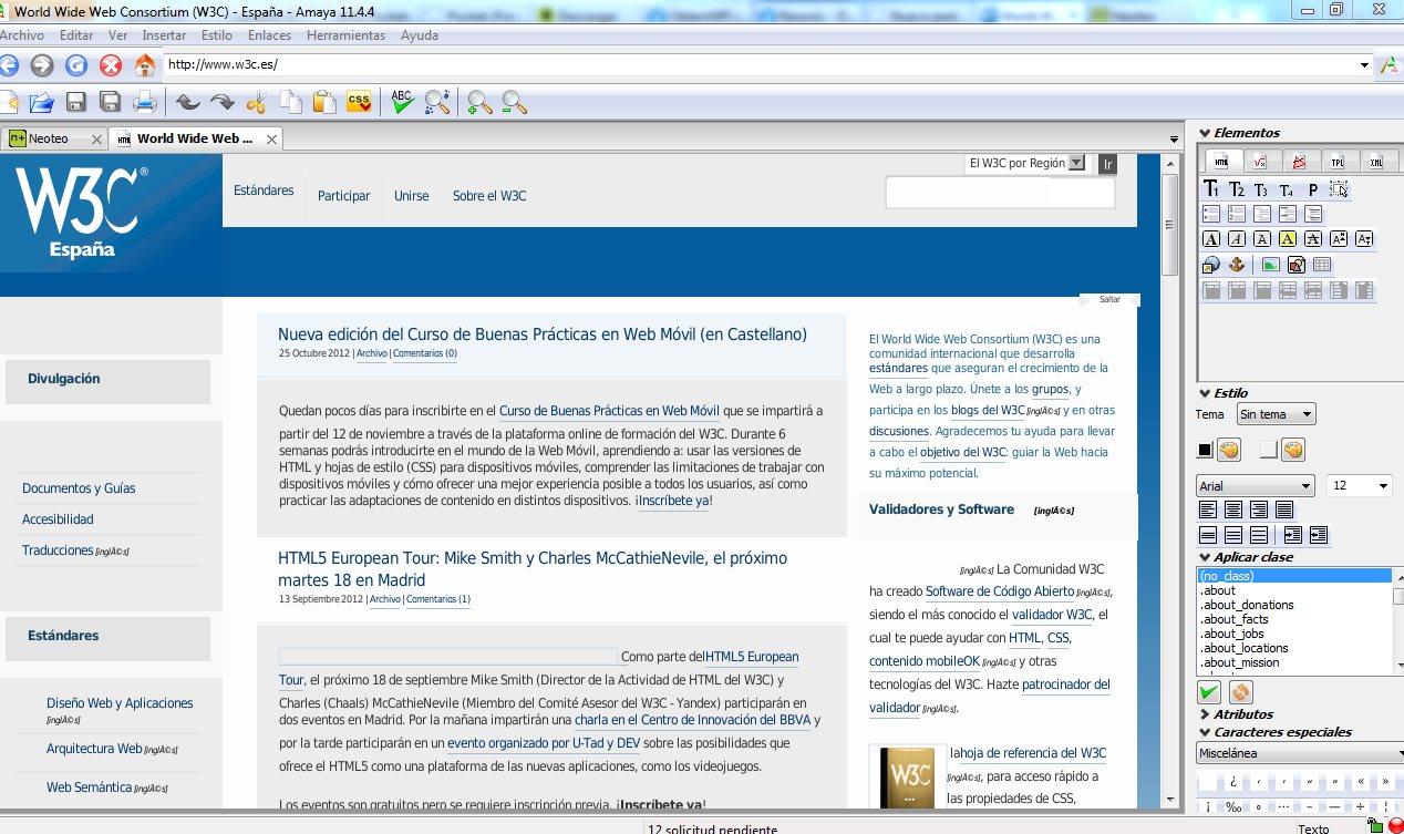 Amaya: Editor HTML para crear y renovar páginas web
