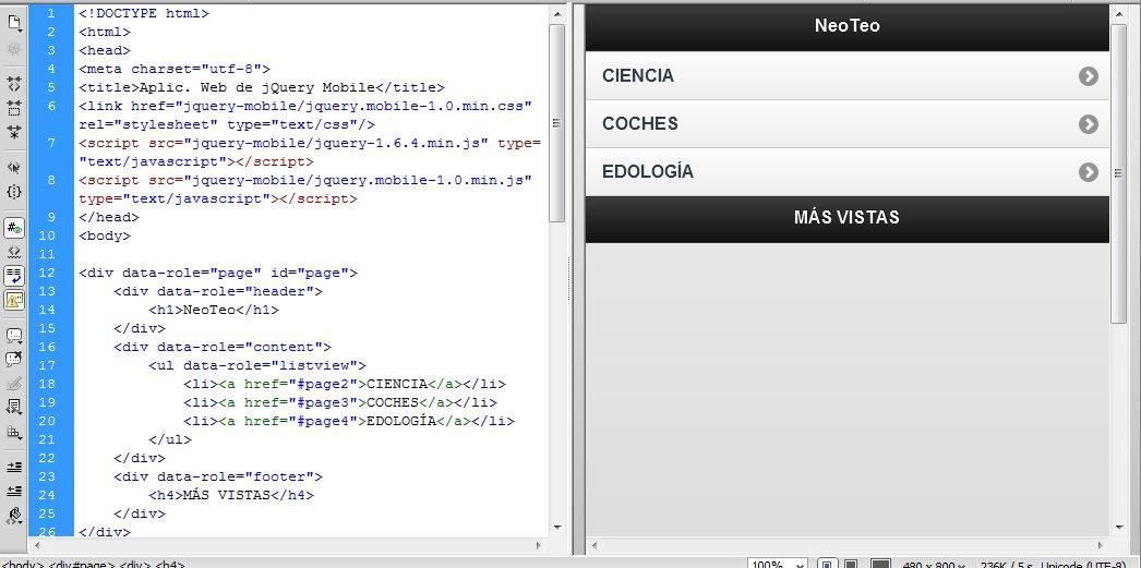 Desarrollar aplicaciones para dispositivos móviles en HTML5