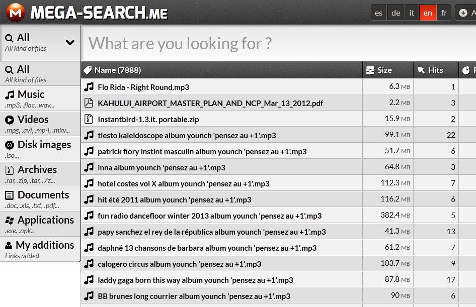 Mega Search: Buscador para archivos de Mega