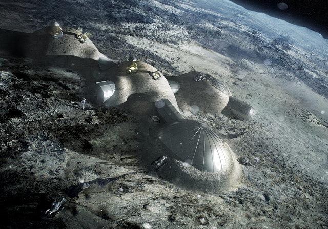 Así podría lucir la primera base lunar (concepto)