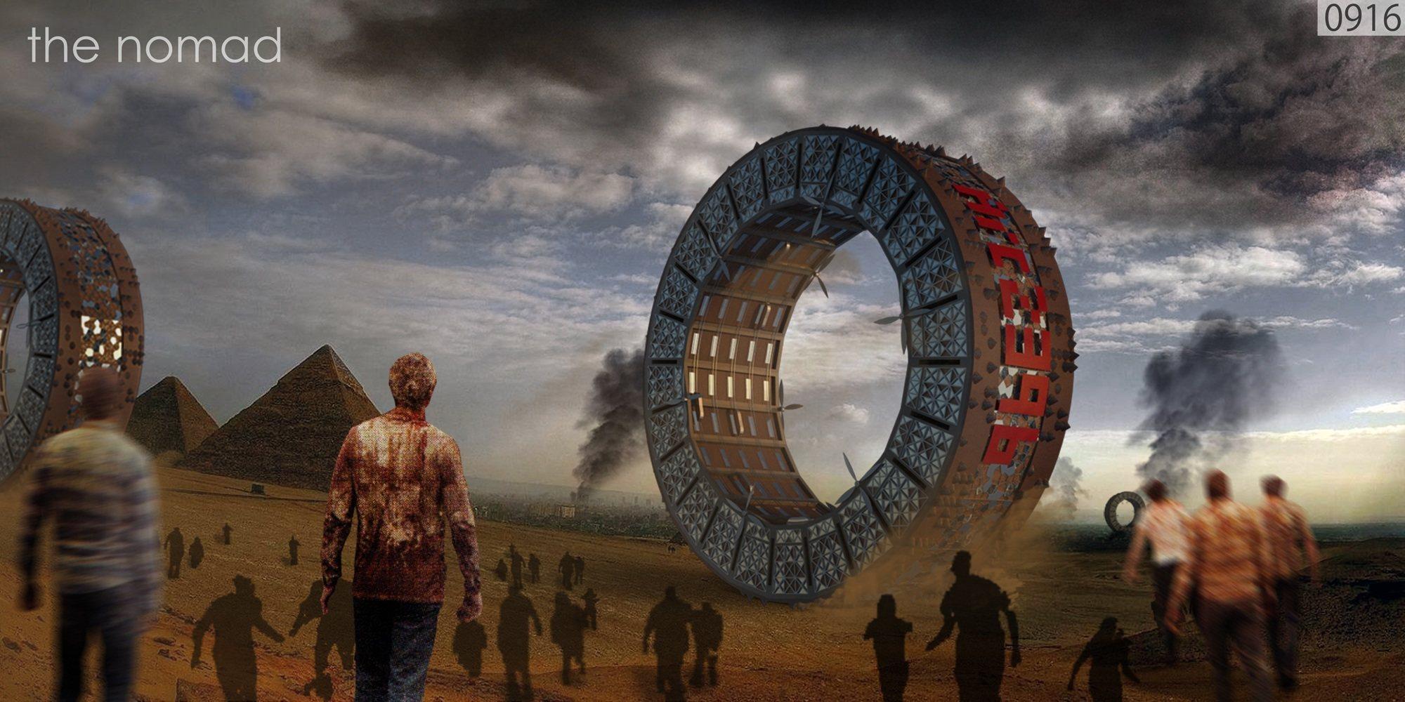NOMAD: Edificio rodante anti-zombies (concepto)