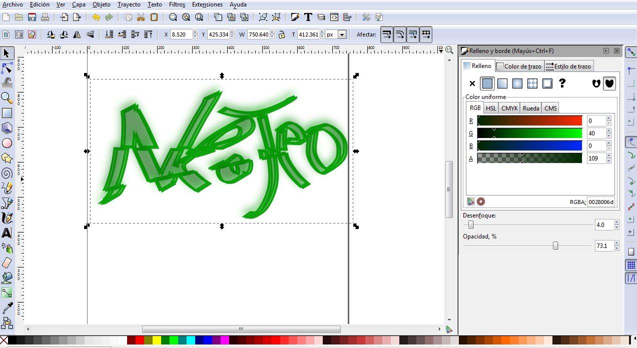 Inkscape: Efecto texto roto
