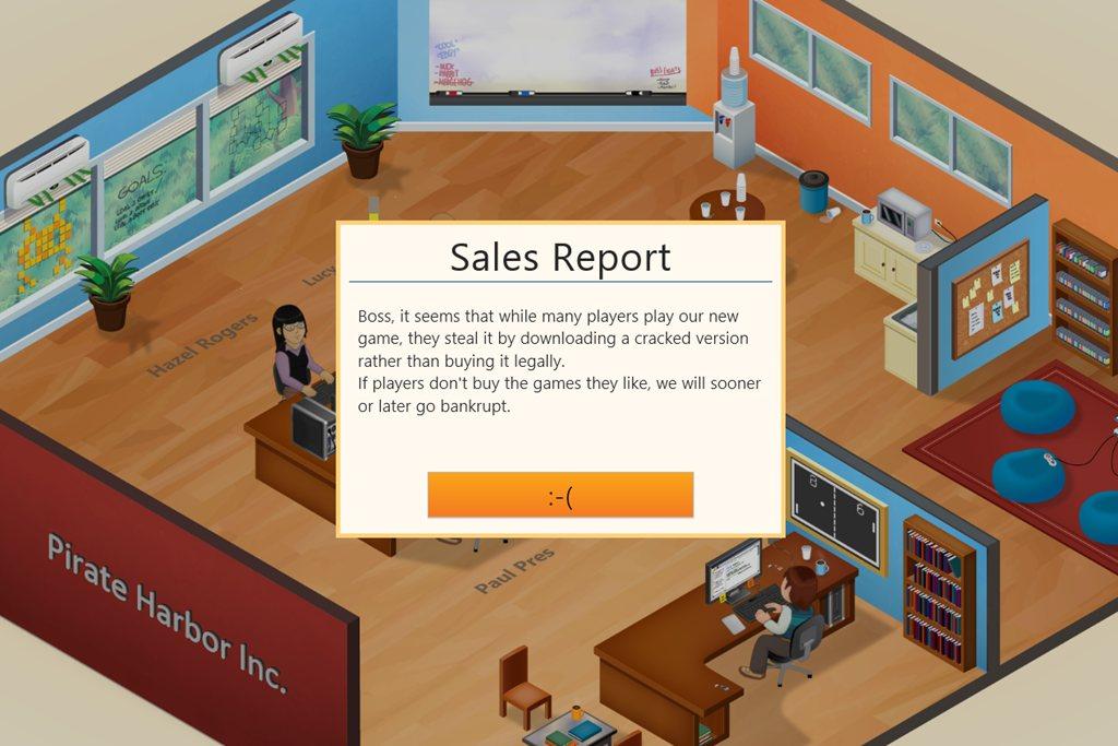 Game Dev Tycoon y los piratas que se quejan de la piratería