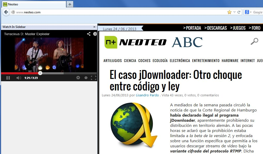 Videos de Youtube en la barra lateral de Firefox