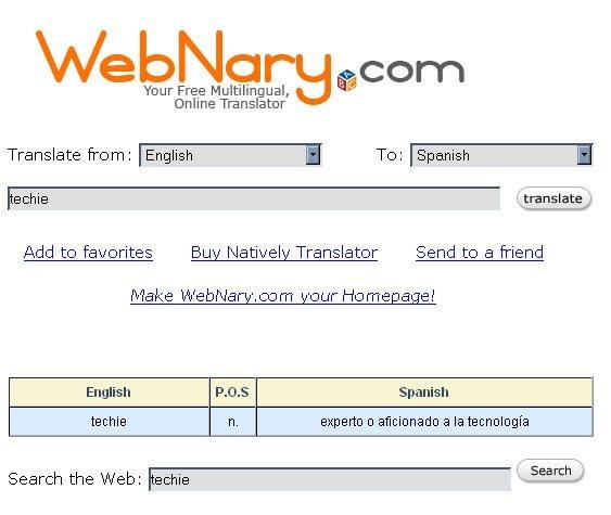 WebNary, traductor en línea