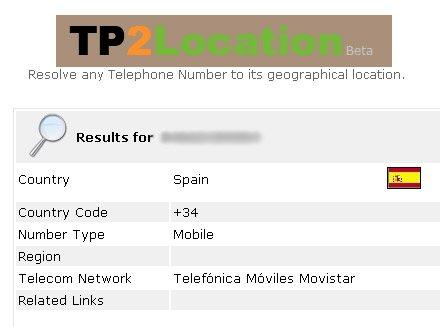 TP2Location, ubicación de un teléfono móvil