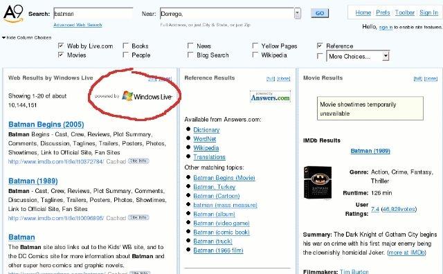 Amazon cambia a Google por Windows Live Search