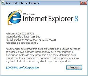 Internet Explorer 8 por Actualizaciones Automáticas