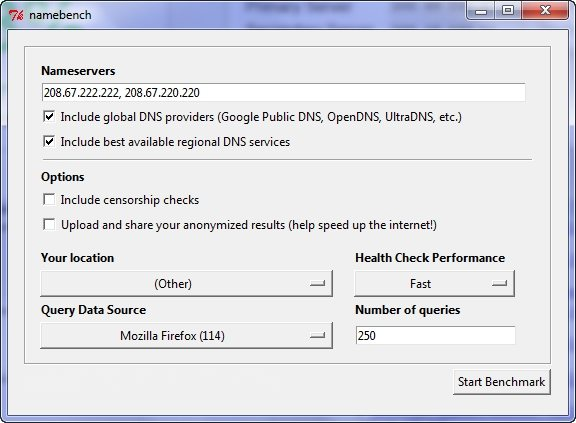 Namebench: Busca un DNS rápido