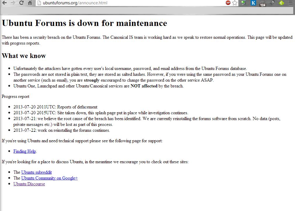 Así se encuentra Ubuntu Forums en este momento