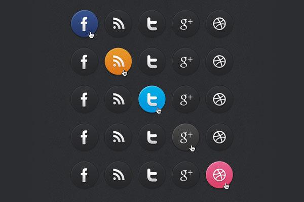Iconos sociales estilo dark