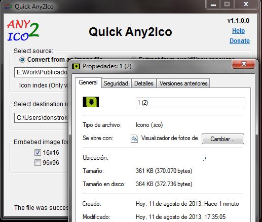 El archivo ico creado desde una imagen