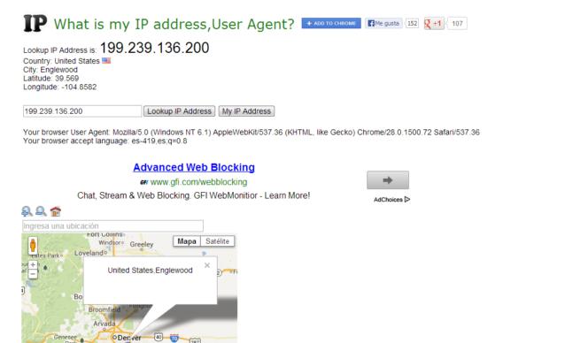 También la herramienta te brinda toda la información del agente de usuario de tu navegador