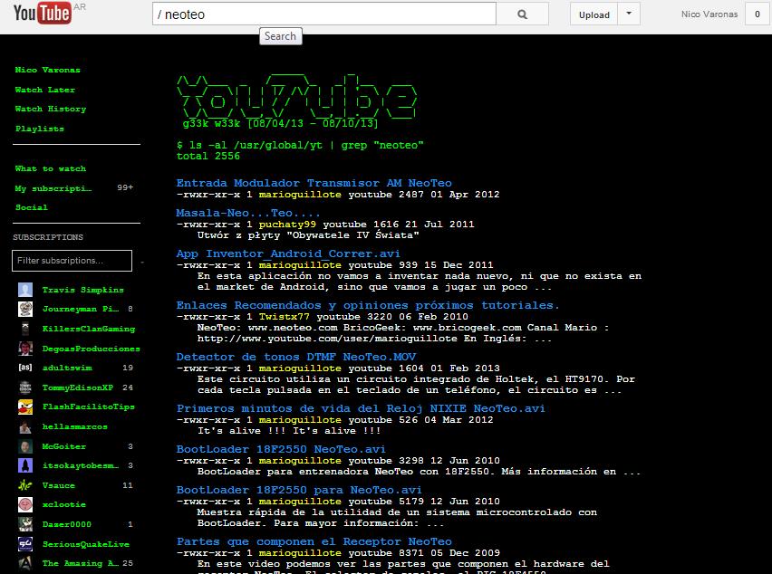 YouTube en ASCII