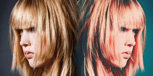 Acción para efecto vintage de tono azúl-rojo