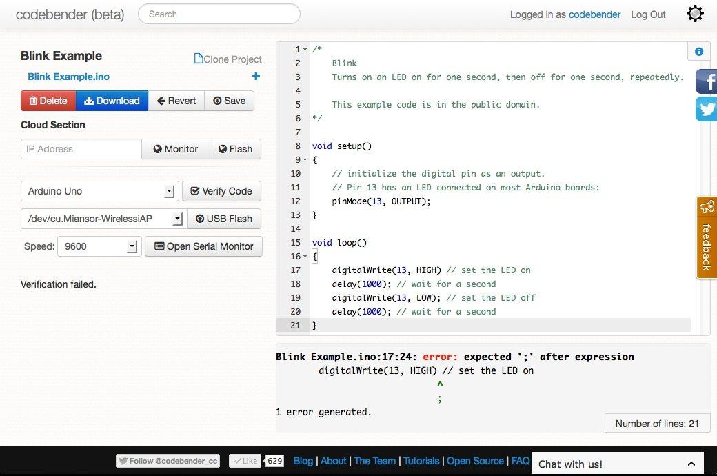 CodeBender: Programa Arduino desde tu navegador
