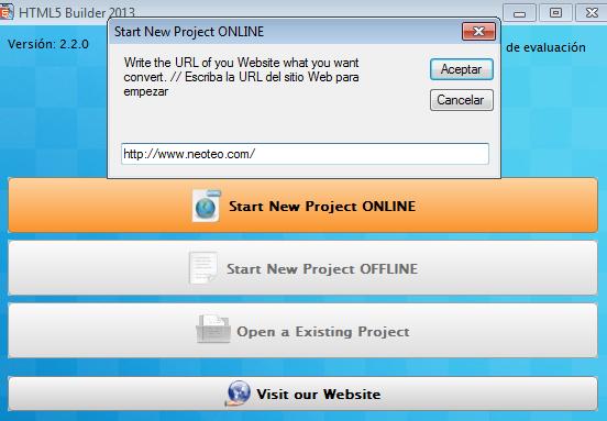 Luego la utilidad te pedirá que insertes el url del proyecto.