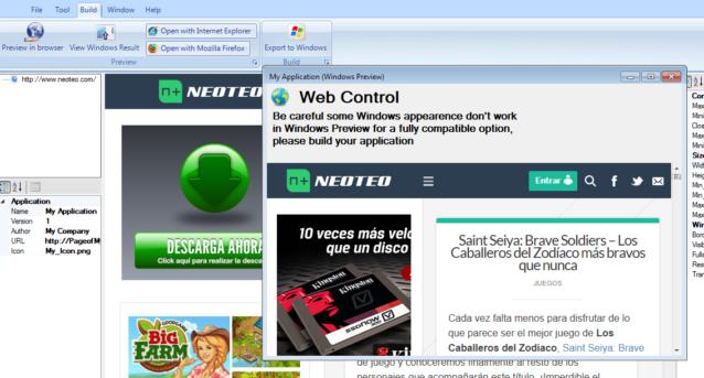 """En """"Build"""" podrás probar la aplicación en los navegadores Mozilla Firefox e Internet Explorer, exportar a Windows y ver los resultados en Windows."""