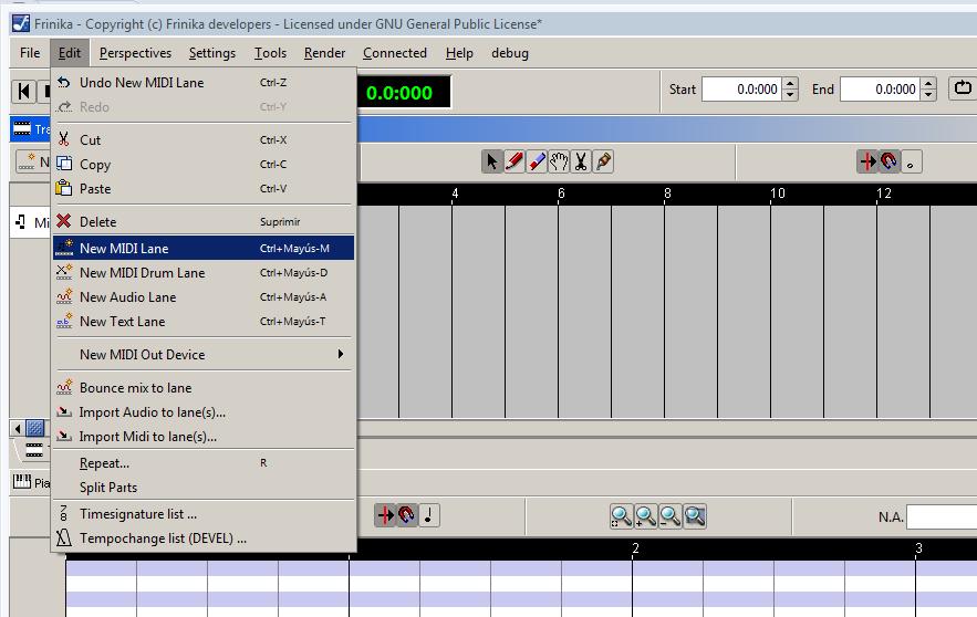 Como puedes observar las opciones que ofrece Frinika para componer música son muchas