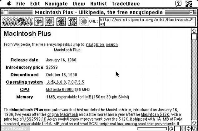 La página renderizada en el Mac Plus de 1986