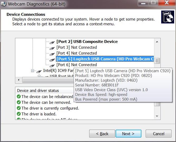Webcam Diagnostics