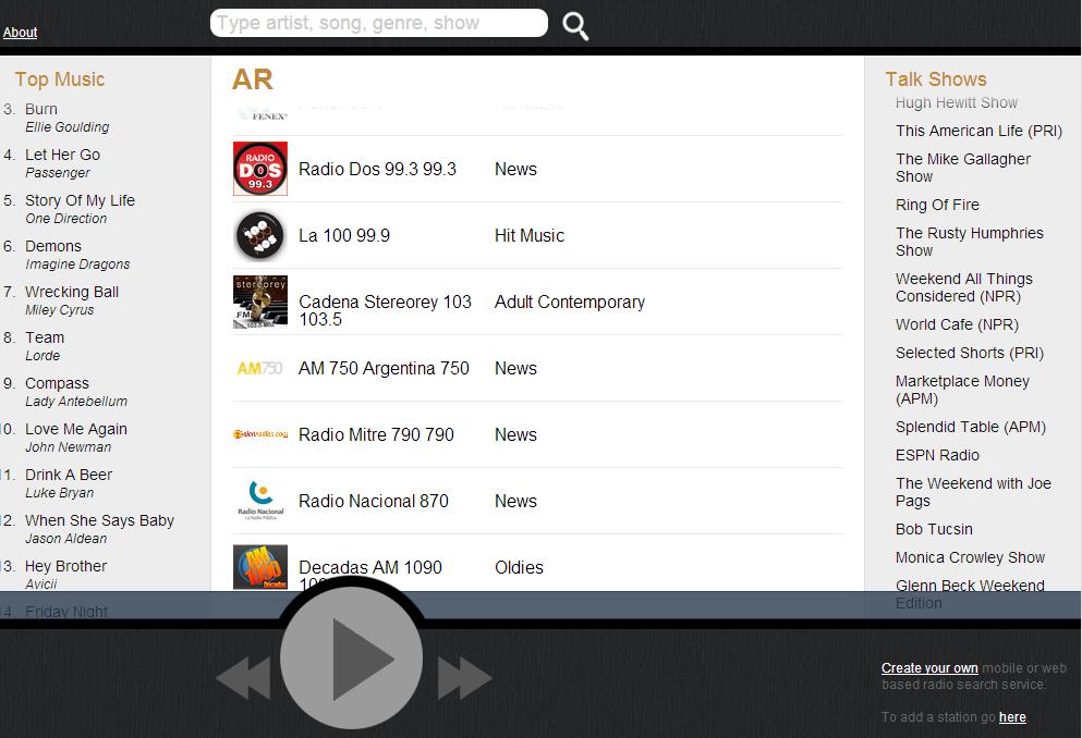 Buscador de estaciones de radio online