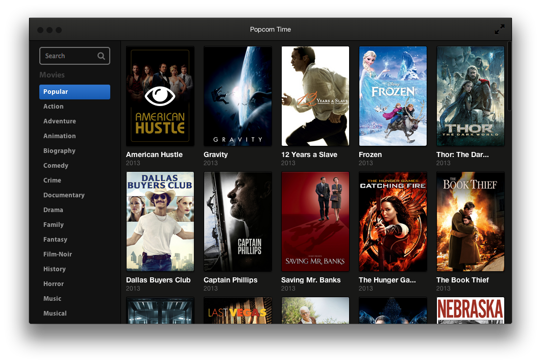 Popcorn Time: Películas en streaming por bittorrent