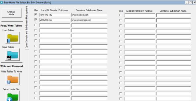 Easy Hosts File Editor dispone de dos opciones para editar los archivos Hosts