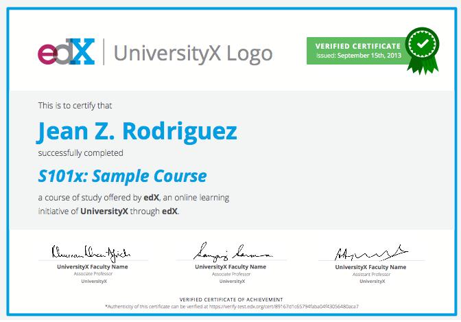 Este es el formato de los certificados que entrega EDX