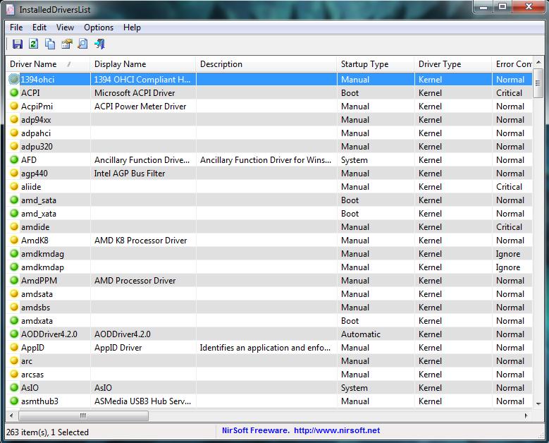 La interfaz del programa mostrando los controladores