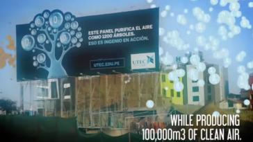 Cartel publicitario purifica el aire