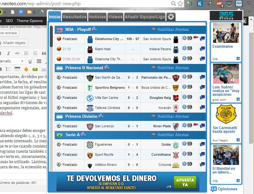 Los resultados tal y como se muestran en Soccer365