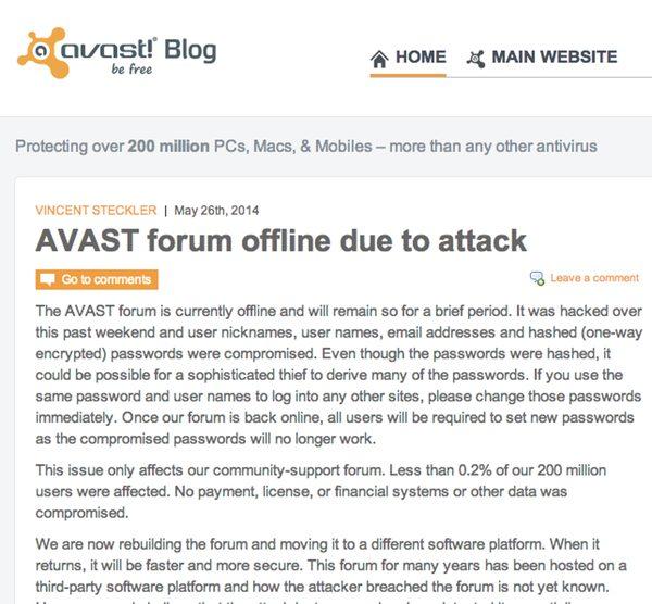 El anuncio de Avast sobre el hackeo de su foro