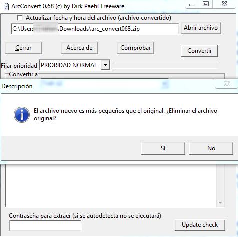 Si la nueva conversión, es menos pesada que la original, la herramienta te brinda la opción de eliminar el archivo original