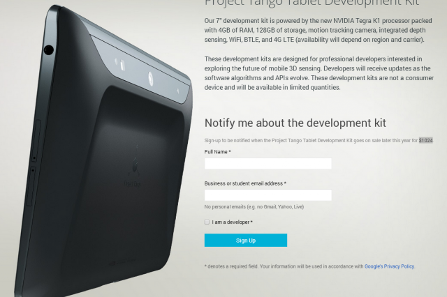 Project Tango en un dev kit imperdible