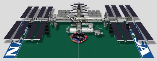 Comparación entre la ISS y un campo de fútbol