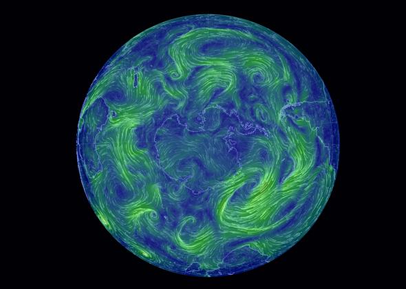 Earth: Mapa global de los vientos en tiempo real