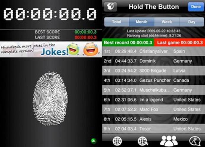 Pon el dedo sobre la pantalla por horas