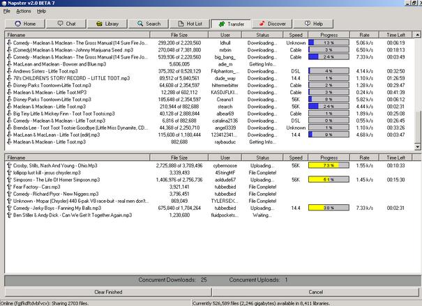 Para conocer bien Napster, tenemos que saber que es una red peer-to-peer (P2P), la misma es una red de ordenadores conectados (vía Internet) que actúan simultáneamente como clientes y servidores (aunque no lo sean), de esta manera la red aprovecha los recursos de cada equipo para su funcionamiento