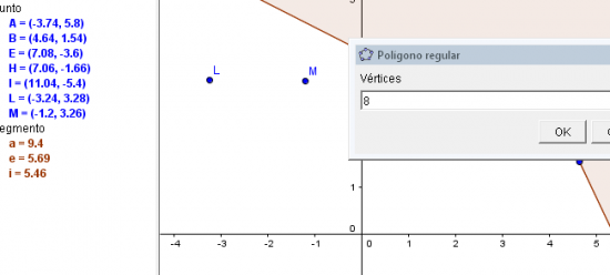 Los gráficos lo seleccionas desde su menú iconográfica superior y luego tendrás que determinar los puntos en el área de trabajo y la cantidad de líneas rectas