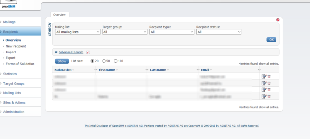 Para configurar los correos entrantes, salientes y erróneos, tendrás que apuntar tu equipo a la máquina de OpenEMM