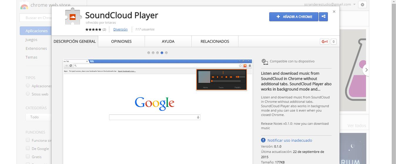 Música sin distracciones desde Chrome