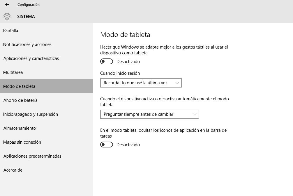 Windows modo Tablet o escritorio