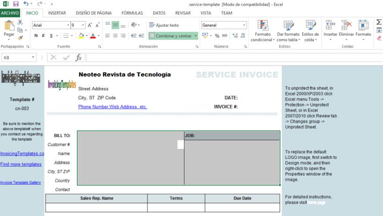 Plantilla de facturación para Excel - NeoTeo