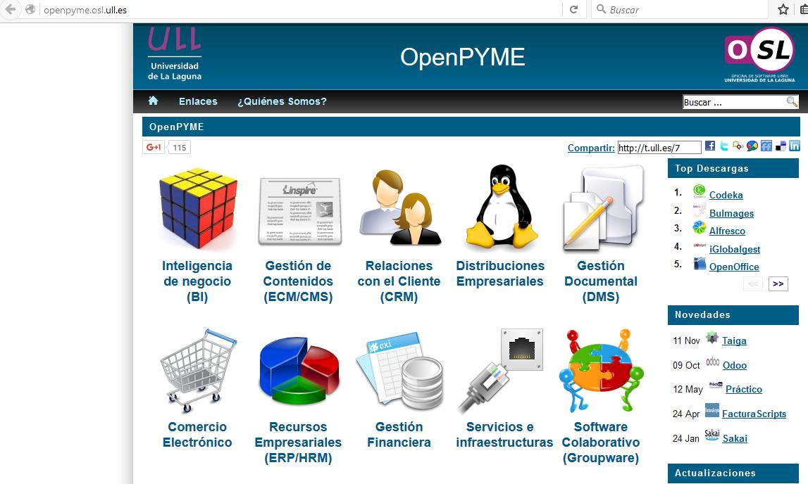 Página Web que lista los mejores programas para Pymes